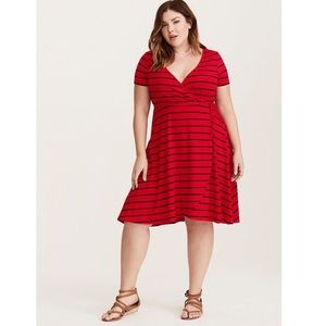 Torrid Red and Blue Striped Wrap Dress